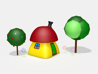 3d cartoon colorful small house with trees and flowers