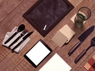 Mock up template with cooking utensil.