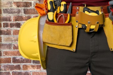 Work Tool. Contractor Man Wearing Carpenter Toolbelt On White