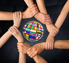 Human Hand. Group of human hands showing unity