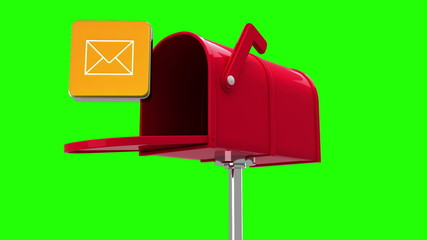 Mail icon in the mailbox on green background