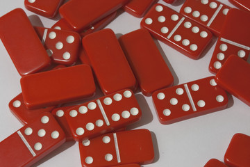 Dominoes on a white background
