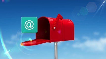 At icon in the mailbox on blue sky background