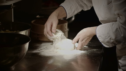Pizza preparing dough
