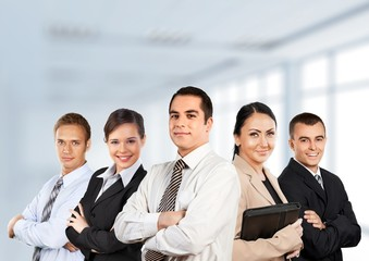 Business. Powerfull employees on white