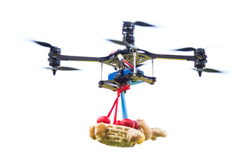Drone carrying a basket with Easter red eggs