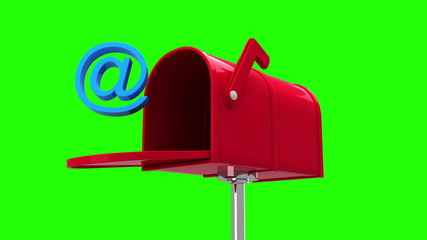 At symbol in the mailbox on green background