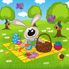 rabbit on picnic in park - vector illustration, eps