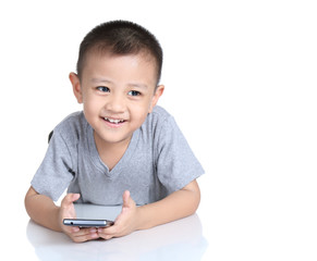 Kid playing games with  cell phone