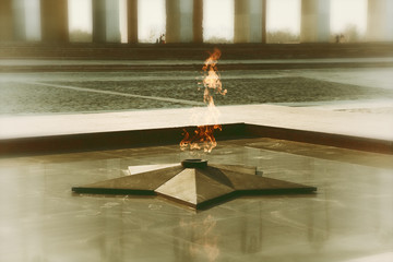 Eternal flame in memory of the Victory. vintage style