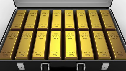 Animated Suitcase with Gold Bars