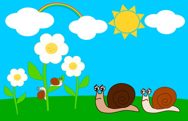 Family of snails in the meadow on a sunny day