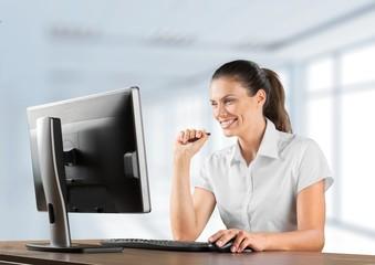 Computer. Businesswoman