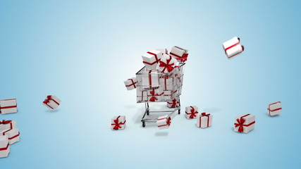 Gifts dropping in the trolley on blue background