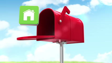 House symbol in the mailbox on cloudy background