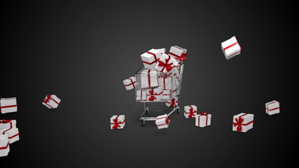 Gifts dropping in the trolley on black background