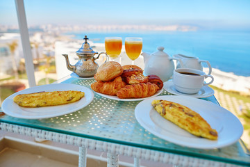 Delicious breakfast with sea view