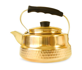 copper teapot on white background