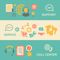 Call center  banners set with support and service    isolated
