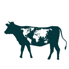 cow and world map