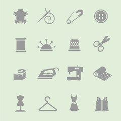 sewing equipment and needlework icon set
