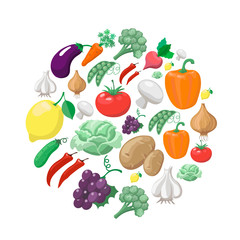 Fruits and vegetables. Organic food icons  illustration