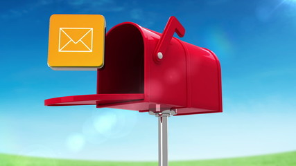 Mail icon in the mailbox on blue sky background