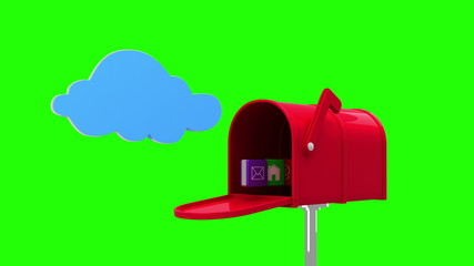 Internet icons in the mailbox on green background