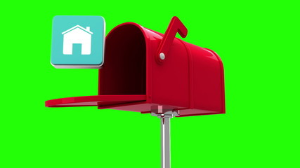 House symbol in the mailbox on green background