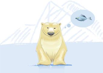 Polar bear think about fish vector illustration