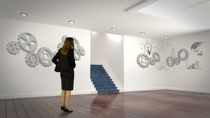 Businesswoman looking at cogs and wheels projection