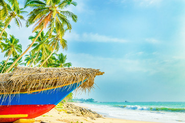 Exotic beach with colorful boat, tall palm trees and azure water