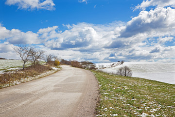 Slovakia - road in spring country of Plesivecka Planina