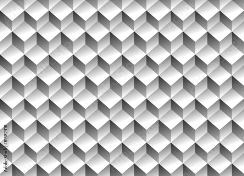 Grayscale 3d Cubes minimal, repeatable pattern (simple seamless, - 81582318