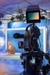 Leinwanddruck Bild - TV NEWS studio with camera and lights