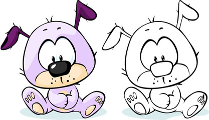 cute puppy sitting - coloring book