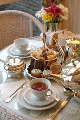 table set for typical English tea