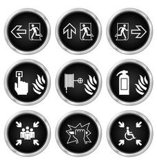 Black fire escape related icon set