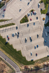aerial view over  parking lot