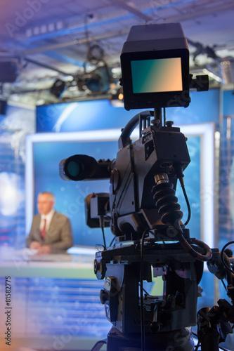 Leinwanddruck Bild TV NEWS studio with camera and lights