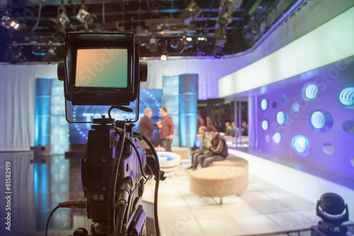 canvas print picture Television studio with camera and lights - recording TV show