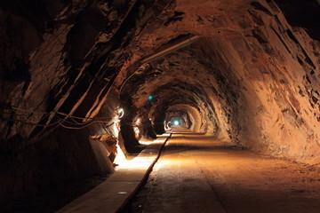 Dark tunnel in old uranium mine in Poland
