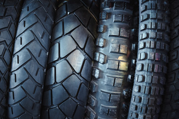 Motorcycle tires, stylized toning image.