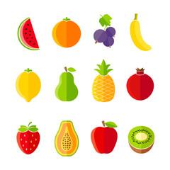 Organic fresh fruits and berries icon set flat design