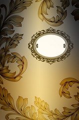 Vintage background with decorative frame and leaves pattern.