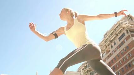 Pretty blonde jogging