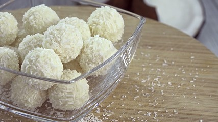 Portion of Coconut Pralines (not loopable 4K footage)