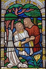 Jerusalem - baptism of Christ scene on the windowpane