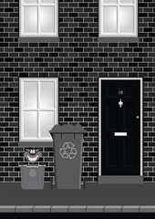 house on street with recycling bins