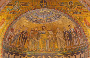"Rome - mosaic ""Coronation of Virgin"" in S. M.  in Trastevere"